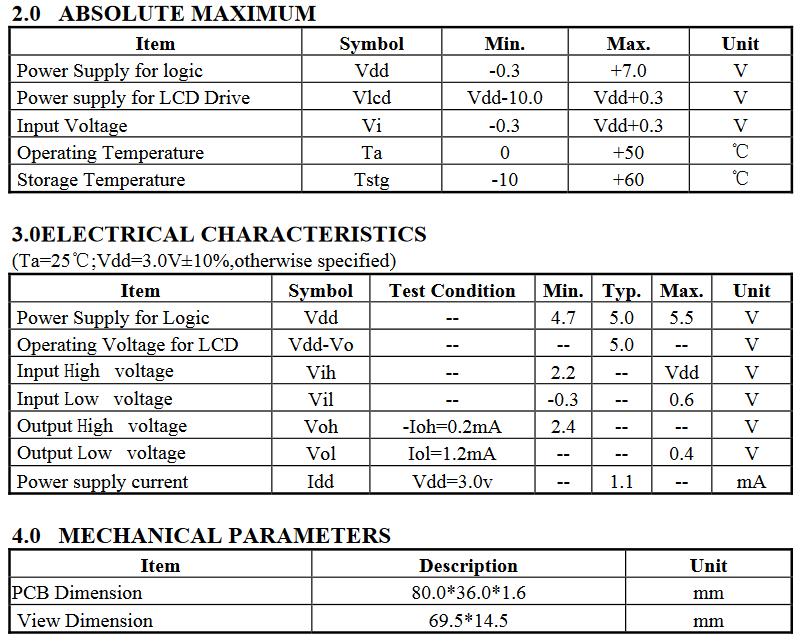 Tableau des tensions d'exploitations, caractéristiques électriques et mécaniques