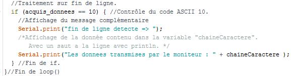 moniteur série donnée code 10