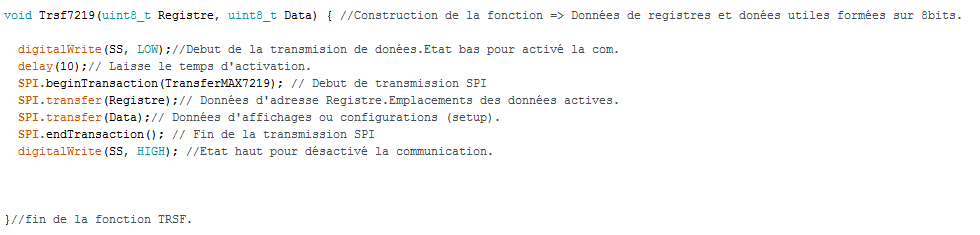 fonction de tranfert de données SPI